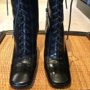Prada vintage black leather lace up boots